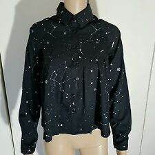 BLACK WHITE CELESTIAL MOON STARS CONSTELLATION PRINT PLEATED SHIRT BLOUSE TOP