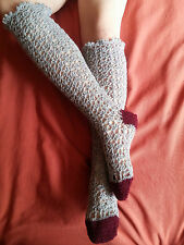 Hand Made Extra Long Knee Crocheted Lace Socks 100% wool