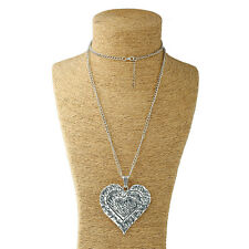 Lagenlook silver large abstract metal heart pendant and long curb chain necklace