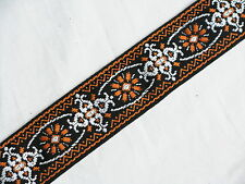 LM Jaquard orange RETRO pattern GUITAR strap NEW nylon - LEATHER ends
