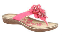 Ladies Womens Slip On Flat Open Toe Post Summer Holiday Beach Sandals Pink