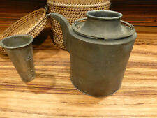 Antique chinese pewter teapot with original straw basket / case. [Y8-W6-A9-E9]