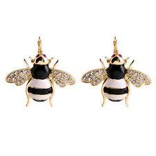 E1759 Gold Tone Honey Bee Enamel Cute Pave Crystals Hot New Design Lady Earrings