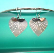 "1"" Heart White Mother of Pearl Shell Handmade Earrings 925 Sterling Silver Drop"