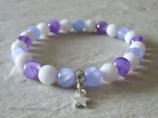 Lilac Purple Jade & White Agate Beaded Fashion Bracelet With Silver Star Charm