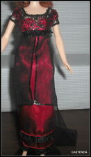 DRESS MATTEL BARBIE TITANIC ROSE DOLL SILKSTONE DEEP RED BLACK EVENING GOWN