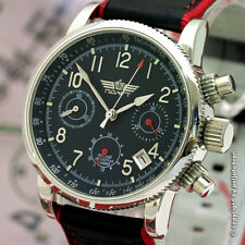 POLJOT Chrono 31681 russian watch Leather strap black/red