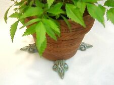 "POT FEET Ceramic Flower Planter Risers ""Fleur de Lis"" Design Turquoise set 4"