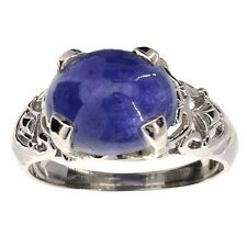 7.80CT Oval Cut Cabochon Tanzanite and Sterling Silver Ring Appraised at $1,900