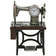 SUPERB QUALITY MINIATURE SINGER SEWING MACHINE NOVELTY QUARTZ CLOCK BOXED 0460