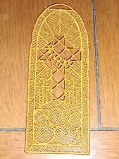 Embroidered Bookmark - Cross W/Thorns - Gold