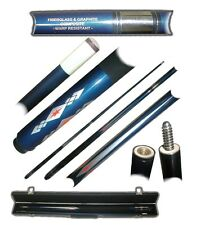 2 Piece Fiberglass Blue Diamond Pool Cue Billiard Stick with Case