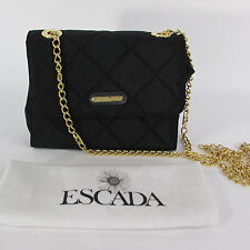 Authenthic Escada Women Black Fabric Purse Small Handbag Gold Chain Quilted Bag