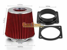 Mass Air Flow Sensor Intake Adapter + RED Filter For 91-02 Town Car 4.6L V8