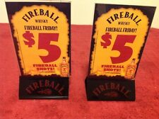 Fireball Whiskey Black Bottom Acrylic Table Tent Advertisement Holder Collector