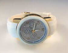 Round  Face Chunky White Watch With White Silicone Type Rubber band Gold