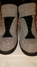 Maison Martin Margiela Future Silver Glitter Hi-Top Sneakers Shoes, Size 44