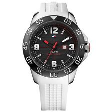 TOMMY HILFIGER SILVER TONE, WHITE SILICON BAND,BLACK ION PLATED WATCH 1790986