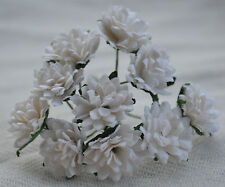 50 WHITE ASTER daisy Mulberry Paper flower for wedding miniature cardmaking