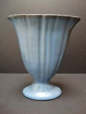 Catalina Island 9'' Classic Fan Vase Matte Blue Early California Red Clay