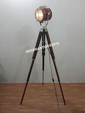 ROYAL THEATER SPOTLIGHT NAUTICAL LEATHER FLOOR LAMP WITH TRIPOD STAND