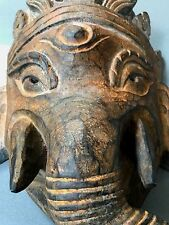 VINTAGE INDIAN WOODEN GANESHA MASK. HUGE, HAND-CARVED, NEPALESE HINDU DEITY.