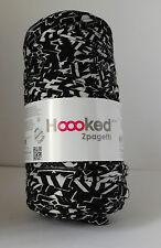 Hoooked zpagetti Camiseta Jersey hilados 50m Tejido Al Crochet Blanco Y Negro Estampado