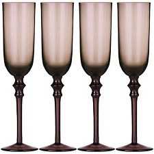 Set Of 4 Purple Tessa Champagne Flutes Drinks Wedding Babycham Party Glasses New