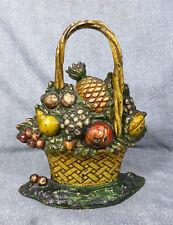 Antique Cast Iron Hubley #78 Large Fruit Basket with Cherries Doorstop c. 1910