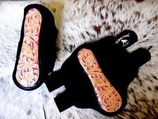 Pair Tooled Leather PINK Inlay Splint Boots For Rodeo & Trails New Horse Tack