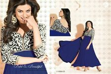 new designer party wear sushmita anarkali big flair blue gown style suit