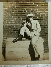 Vintage Old 1920s Photo man with a Beret Sitting on a crate One Leg up Smoking
