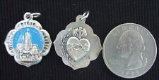 Vintage Catholic Medal OUR LADY OF FATIMA Mary Sacred Heart Jesus Blue color
