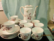 VINTAGE FLORAL HAVILAND & CO LIMOGES ROPE HANDLE COFFEE/TEAPOT SERVICE FOR EIGHT