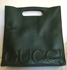 GUCCI LOGO XL LEATHER TOTE GREEN LEATHER SPRING 2016 BY ALESSANDRO MICHELE