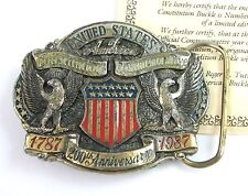 USA CONSTITUTION BELT BUCKLE Great American Co 200th Anniversary US Brass 1987