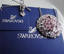 GENUINE SWAROVSKI MULTICOLOUR CRYSTAL NECKLACE ROUND PENDANT BNWT BOX GIFT POUCH