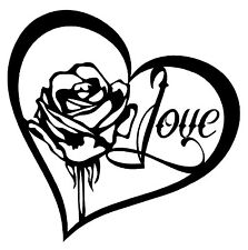 ROSE HEART LOVE Vinyl Decal Sticker Car Window Wall Bumper Tattoo Style Symbol