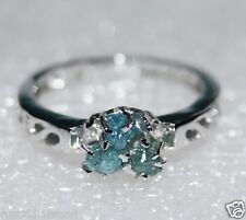 0.60 CT NATURAL GREEN BLUE ROUGH DIAMOND RING RAW DIAMOND RUSTIC DIAMOND RING nr
