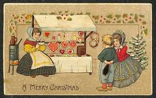 CHRISTMAS HOLIDAY CHILDREN PARTY SWEETS FOOD HTL HOLD TO LIGHT POSTCARD c. 1910
