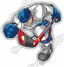 "Ice Hockey Player Puck Stick Skates Sport Car Bumper Vinyl Sticker Decal 4""X5"""