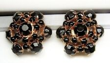 Vintage Jet Black Prong Set Rhinestone Large Clip On Earrings HighEnd A+ Quality