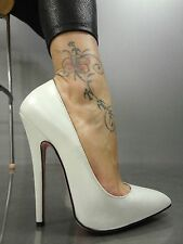 MORI MADE IN ITALY NEW HIGH SKY HEELS PUMPS SCHUHE SHOES LEATHER WHITE BIANCO 43
