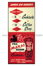 Tiki Poster 11x17 Polynesian Mar Vista Bowl The Makai Room Bowling Bar Lounge