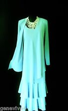 CATTIVA Size 20 Turquoise Ladies Designer Wedding Dress and Jacket Outfit Womens