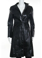 FRYE Black Long Sleeve Collared Leather Trench Coat Sz S