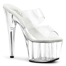 "7"" Inch Clear Double Strap Platform Shoes Stripper Pole Dancer Heels Pleaser 8 9"