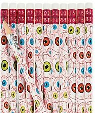 Pack of 12 - Scary Eyeball Pencils - Halloween Party Loot Bag Fillers