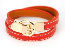Women Genuine Leather Wrap Bracelet Designer Inspired Bangle Cuff Wristband Lady