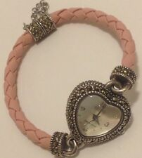 ECLISSI STERLING SILVER HEART MARCASITE PINK ROPE BAND WATCH AMAZING!!  #100416